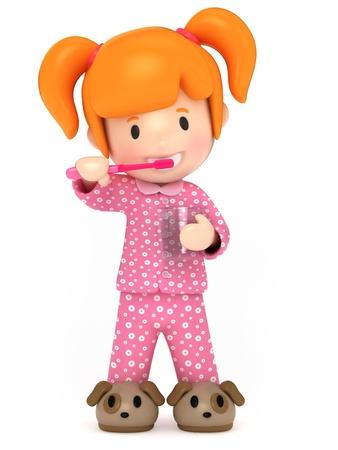 3D Render of a kid brushing her teeth Stock Photo
