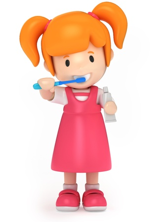 3D Render of a kid brushing her teeth Stock Photo