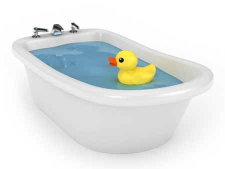 bathtub: 3D render of a bath with rubber duck Stock Photo