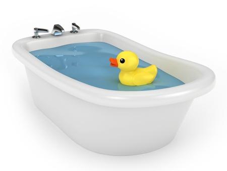 pato de hule: Render 3D de un baño con el pato de goma