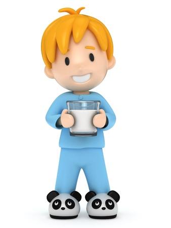 0084 - 3D render of a kid holding a milk Фото со стока