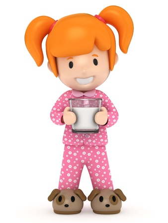pajamas: 0084 - 3D render of a kid holding a milk Stock Photo