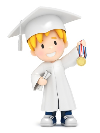 3D render of a boy with medal photo