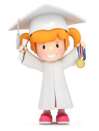 toga: Render 3D de una niña con medalla