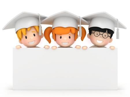 finishing school: 3D render of kids and blankboard