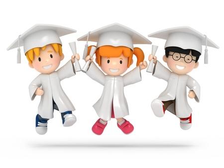 toga: Render 3D de niños saltando con dilpoma