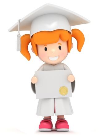 finishing school: 3D render of a girl showing certificate
