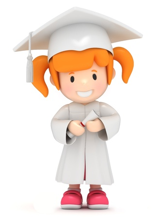 toga: Render 3D de una niña con certificado Foto de archivo