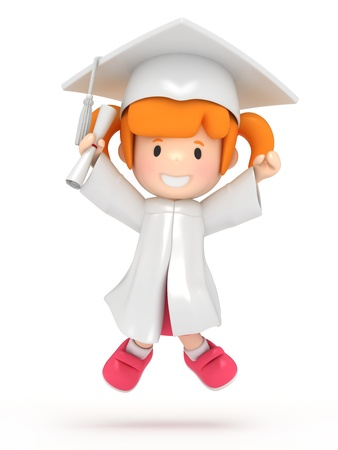 finishing school: 3D render of jumping girl with dilpoma