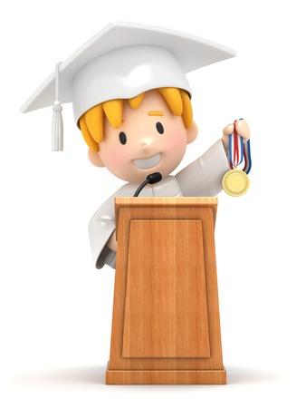 toga: Render 3D de un niño y el podio