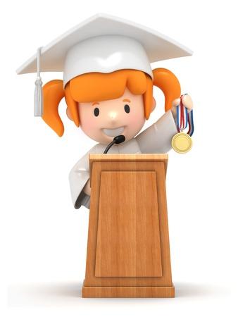 toga: Render 3D de una niña y el podio Foto de archivo
