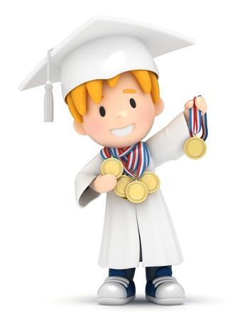 toga: Render 3D de un niño con medallas Foto de archivo