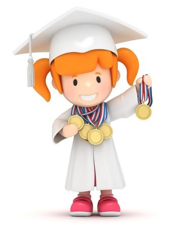 i i  i i toga: Render 3D de una niña con medallas Foto de archivo