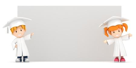 toga: 3D render de los niños y tablero en blanco