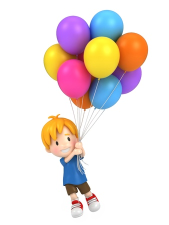 children party: 3d render of a floating kid with balloons