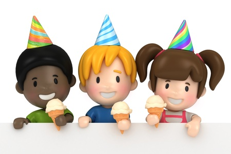 3d render of kids in a party and blabkboard Stock Photo