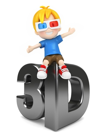 3 d illustrations: 3d render of a kid with 3d glass