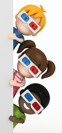 stereoscopic: 3d render of a kids wearing 3d glass and blankboard
