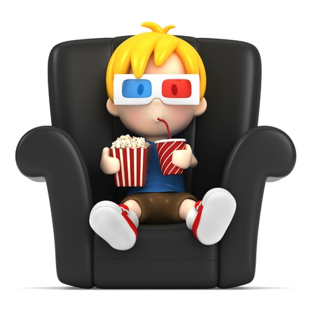 3d render of a kid wearing 3d glass while watching