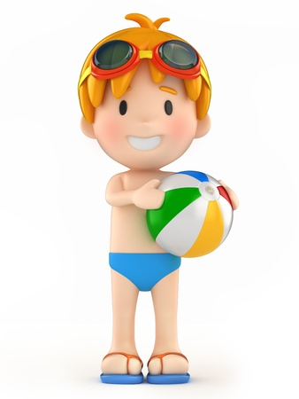 3d swimming pool: 3d render of a kid with goggles and inflatable ball Stock Photo