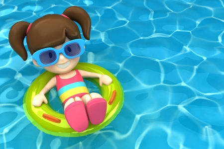 3d render of a kid floating with inflatable ring photo
