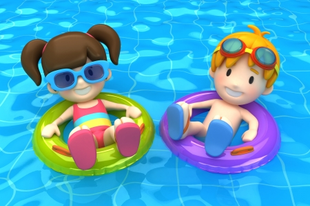 3d render of a kids floating with inflatable ring photo