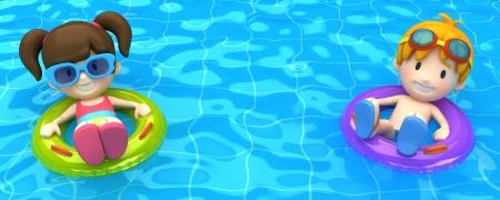 schwimmring: 3D-Render eines Kinder schwimmen mit aufblasbaren Ring