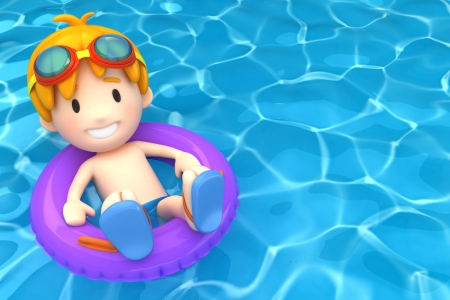 swimming to float: 3d render of a kid floating with inflatable ring