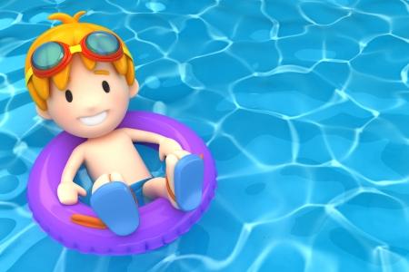 schwimmring: 3d render von einem Kind schwimmt mit aufblasbaren Ring Lizenzfreie Bilder