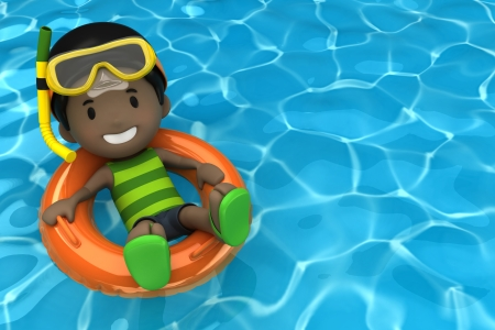 3d swimming pool: 3d render of a kid floating with inflatable ring