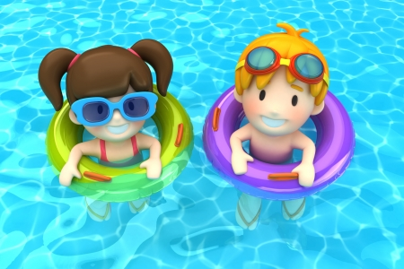 3d swimming pool: 3d render of kids floating with inflatable ring