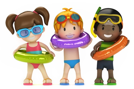 3d render of kids with inflatable ring Stock Photo