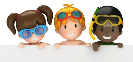 3d swimming pool: 3d render of kids and blank board Stock Photo