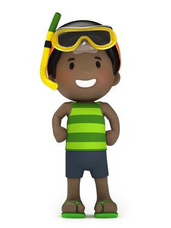 boy swim: 3d render of a kid in swim wear