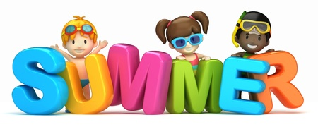 3d render of a summer word and kids Stock Photo