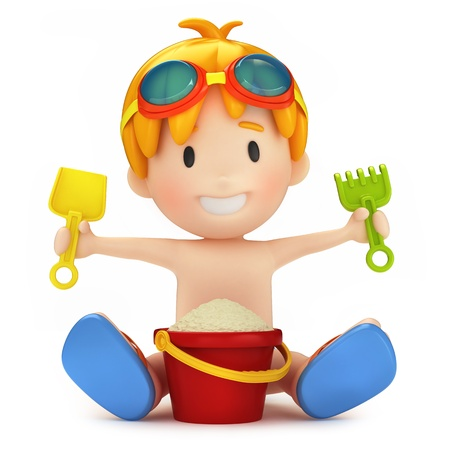 3d render of a kid playing with sand Stock Photo - 15632687
