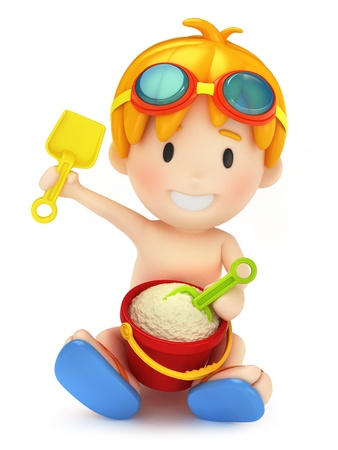 3d render of a kid playing with sand photo