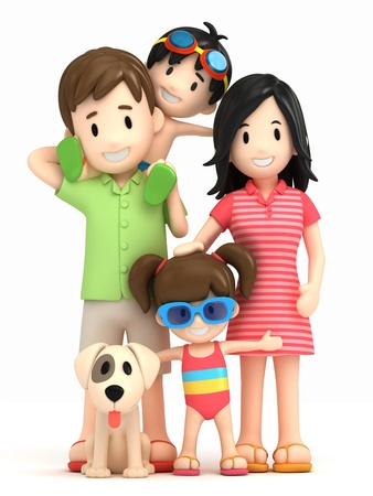 3d render of a family in swim wear Stock Photo - 15632695