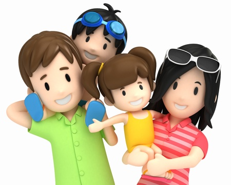3d render of a family in swim wear photo