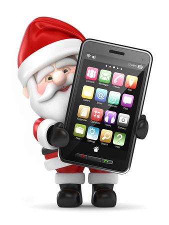 hone: 3d render of Santa Claus holding a big smart phone