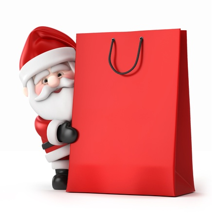 clip art santa claus: 3d render of Santa Claus and a shopping bag Stock Photo