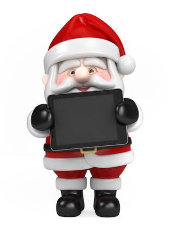 hone: 3d render of Santa Claus and holding tablet Stock Photo
