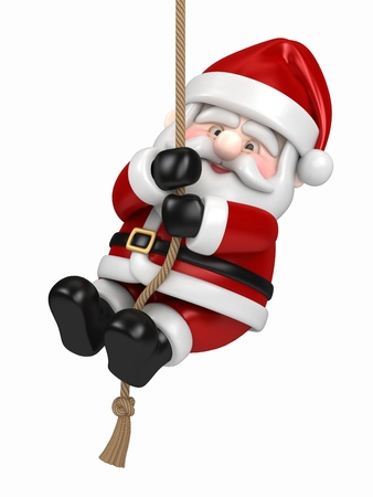 ropes: 3d render of Santa Claus hanging on a rope