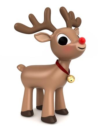 papa noel en trineo: 3D render de un reno de Navidad Foto de archivo