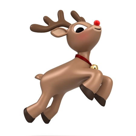 3d render of a christmas reindeer flying Stock Photo