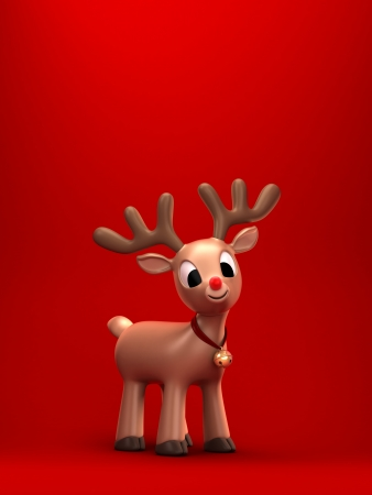 red nose: 3d render of a christmas reindeer with green background Stock Photo