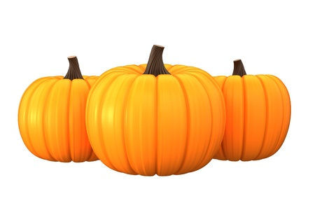 3d render of pumpkins isolated in white background photo