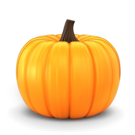 3d halloween: 3d render of a pumpkin isolated in a white background