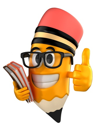 eraser: 3d render of pencil giving thumbs up and holding books Stock Photo