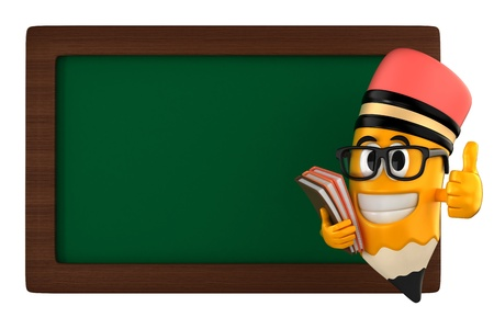 brainy: 3d render of pencil and a black board